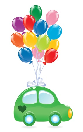 The greens car with balloons.