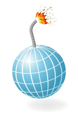 Globe as ignited bomb isolated on the white background. Vector