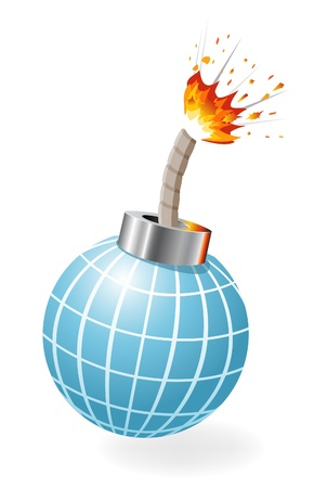 human time bomb: Globe as ignited bomb isolated on the white background. Illustration