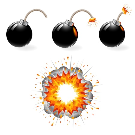 grenade: Black bomb burning, explosion, isolated on the white background, set. Illustration