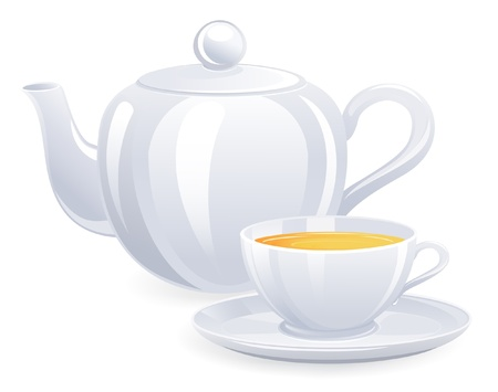 flavorful: White teacup and teapot