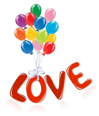 風船と愛のメッセージです。  イラスト・ベクター素材