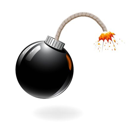 Black bomb burning isolated on the white background. Stock Vector - 11937102