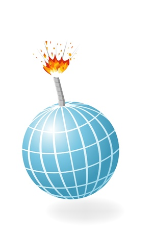 Globe as ignited bomb isolated on the white background. Stock Vector - 11937097