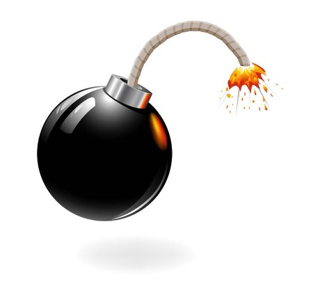 Black bomb burning isolated on the white background. Vector