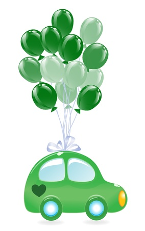 The green's car with balloon's. Vector
