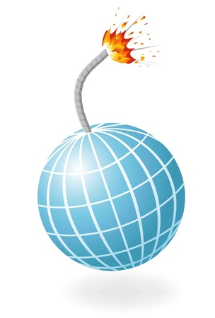 detonator: Globe as ignited bomb isolated on the white background. Illustration