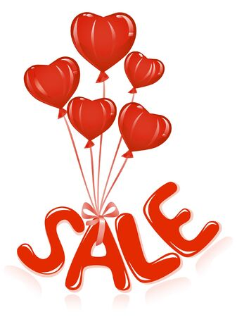 Sale message with balloons. Vector