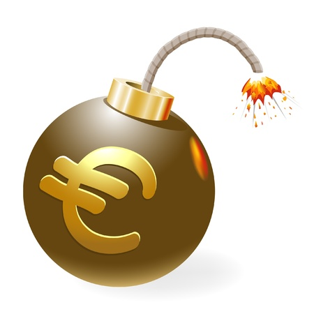 explosive sign: Ignited bomb, euro in the stage of crisis. Illustration