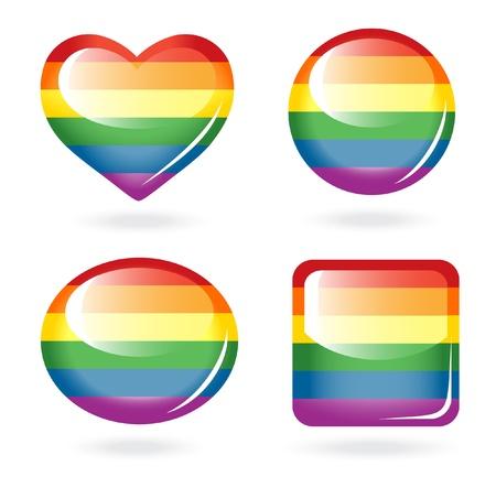 amor gay: Conjunto de botones de arco iris