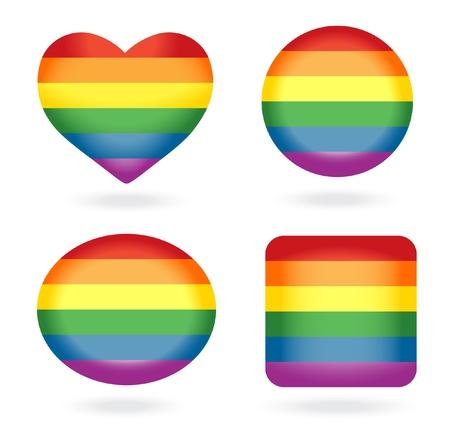 homosexuales: Conjunto de botones de arco iris