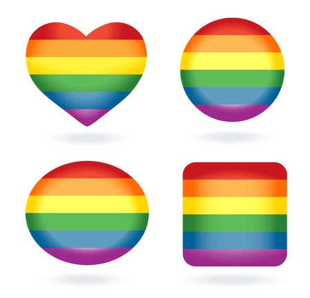 gay flag: Set of rainbow buttons