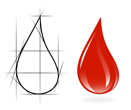 Sketch of blood drop Vector