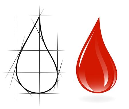 Sketch of blood drop Vector