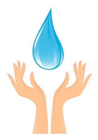 manos limpias: De agua caída y las manos Vectores