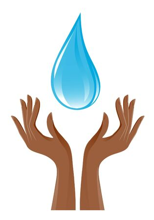 Water-drop and hands Stock Vector - 11994376