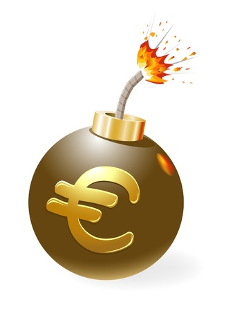 economic crisis: Ignited bomb, euro in the stage of crisis. Illustration