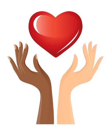 solidaridad: Las manos en blanco y negro con el corazón