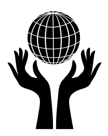 save earth: Silhouette of globe and hands