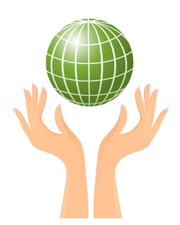 Green globe and hands Vector