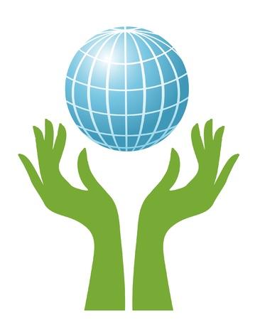 mundo manos: Globo y manos verdes Vectores