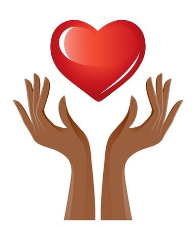Coeur rouge et les mains Vecteurs