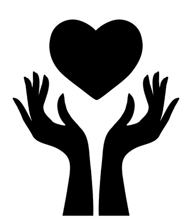 Silhouette of heart and hands Vector