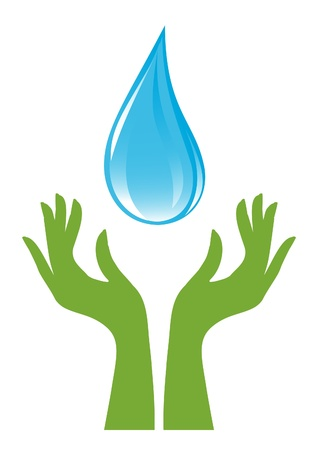 flowing river: Water-drop and green hands