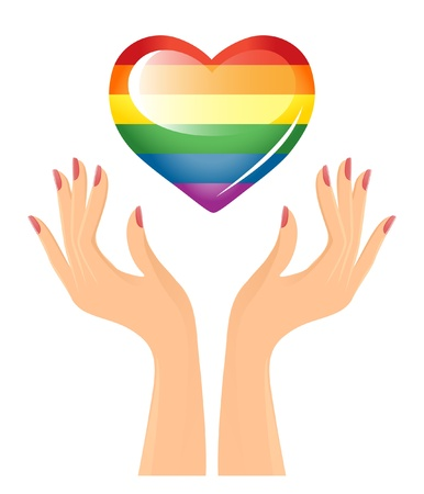 Rainbow heart and hands Vector