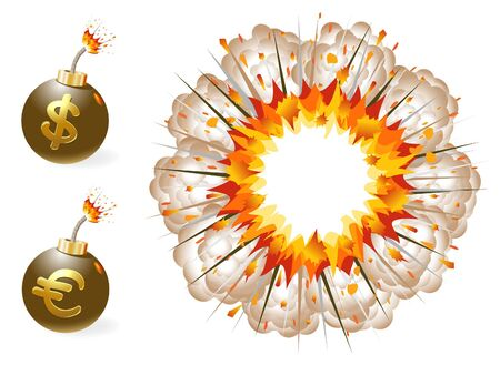 ignited: Set of ignited bomb with currency symbols and explosion