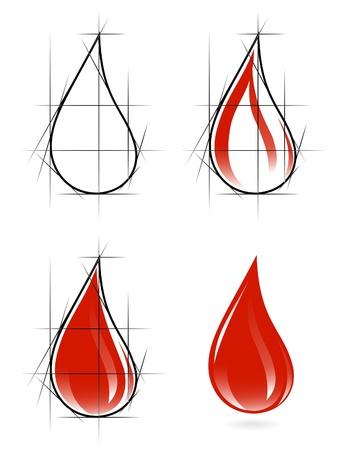 the drop: Sketch of blood drop