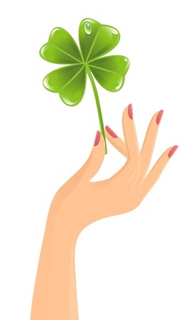 Hand with clover leaf Vector
