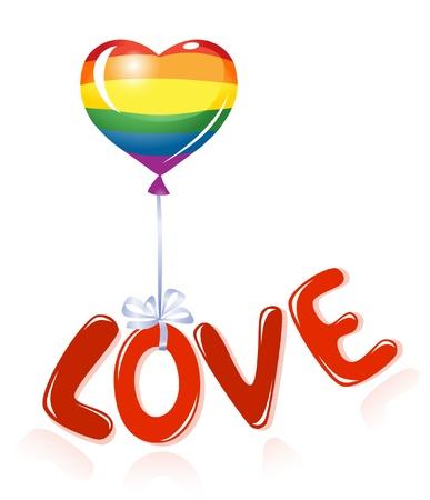 gay: Liebesbotschaft mit Regenbogen-Ballon