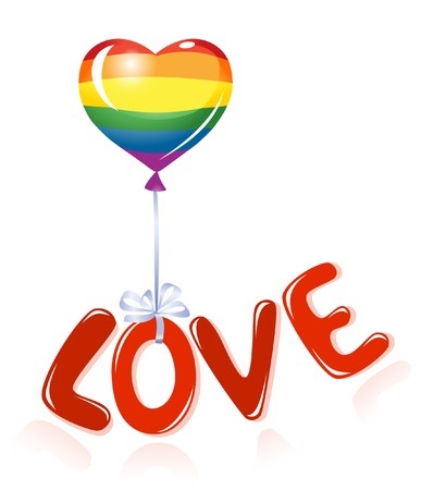 Love message with rainbow balloon Vector