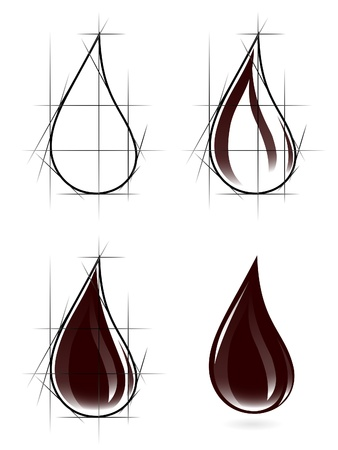 Sketch of oil drop Vector
