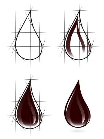 Sketch of oil drop Vector