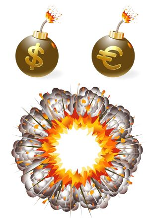ignited: Set of ignited bombs with currency symbols and explosion