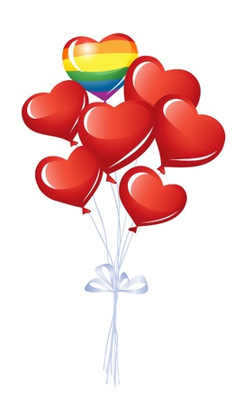 Bunch of heart balloons Stock Vector - 12031061