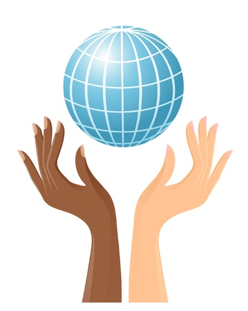 racism: Black and white hands with globe