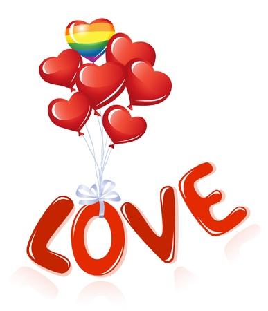 lesbianas: Amor mensaje con globos de corazón