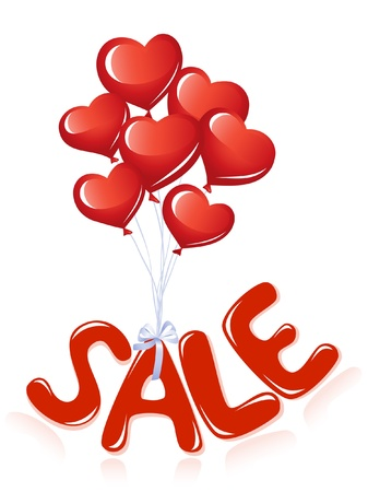 Sale message with heart balloons Vector