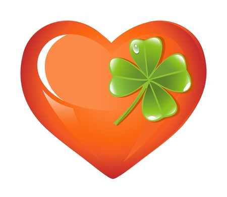 St. Patricks Days Heart and sheets clover Vector