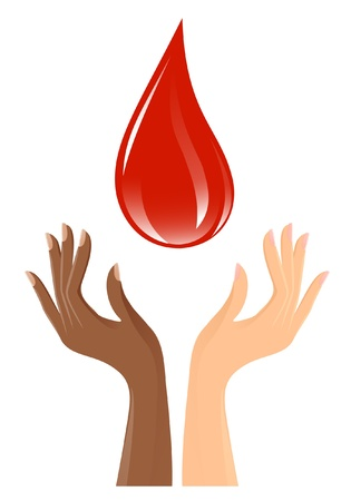 Blood drop and hands Vector