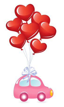 The Valentines car with heart-balloons Vector