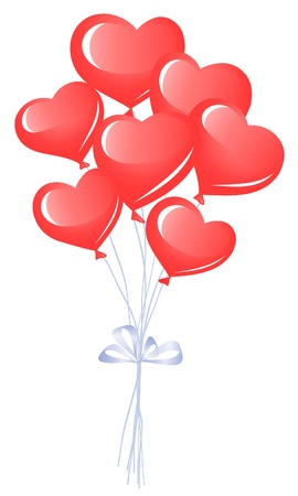 Bunch of heart balloons Vector