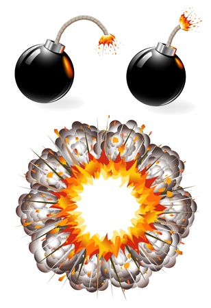 Set of burning black bombs and explosion Vector