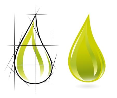 Szkic oliwy kropli oleju Ilustracja
