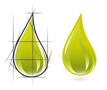 mineral oil: Sketch of olive oil drop Illustration