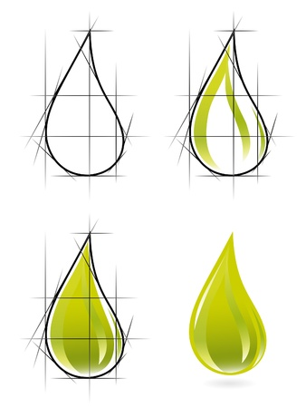 Sketch of olive oil drop Vector