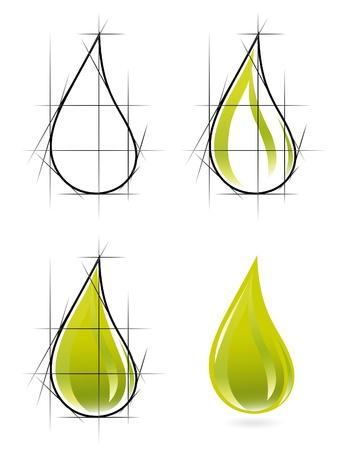 natural gas: Sketch of olive oil drop Illustration